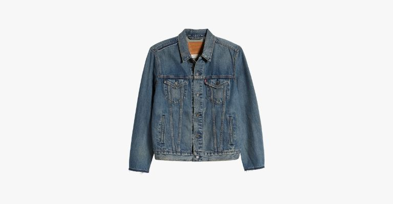 Blue denim trucker jacket.