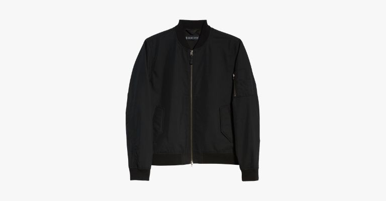 Black nylon bomber jacket.