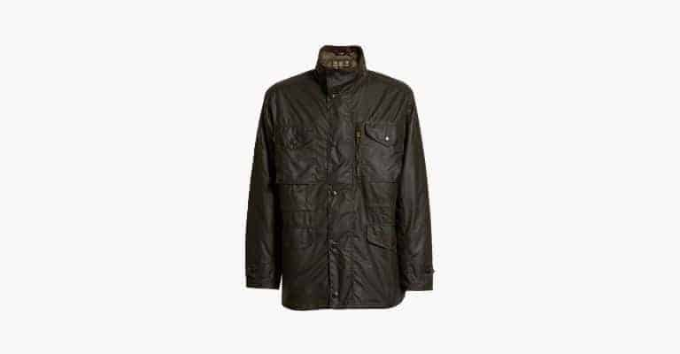 Olive green waterproof utility jacket.