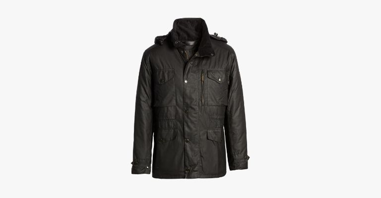 Black waxed cotton rain jacket.