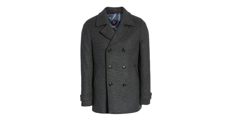 Charcoal grey peacoat.