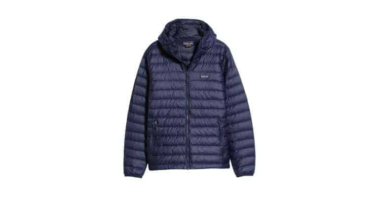 Navy blue down hooded jacket.