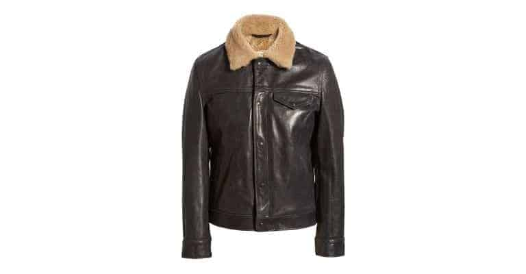 Black shearling jacket.