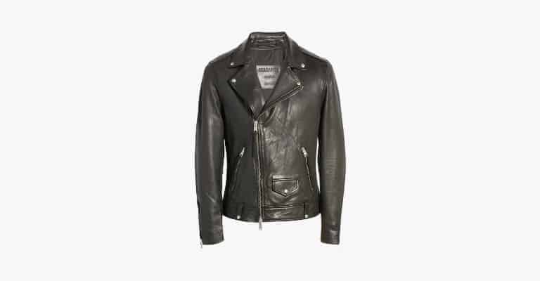 Washed black leather biker jacket.
