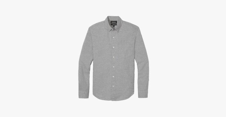 Grey button-down shirt.