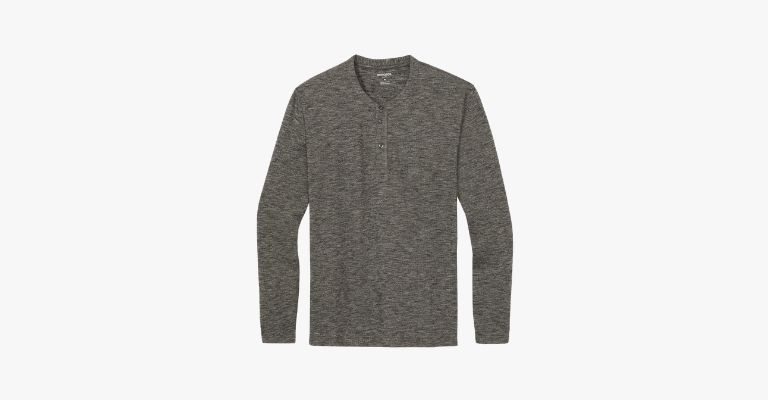 Grey henley shirt.
