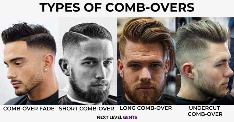 Four different types of comb-over hairstyles with text overlay.