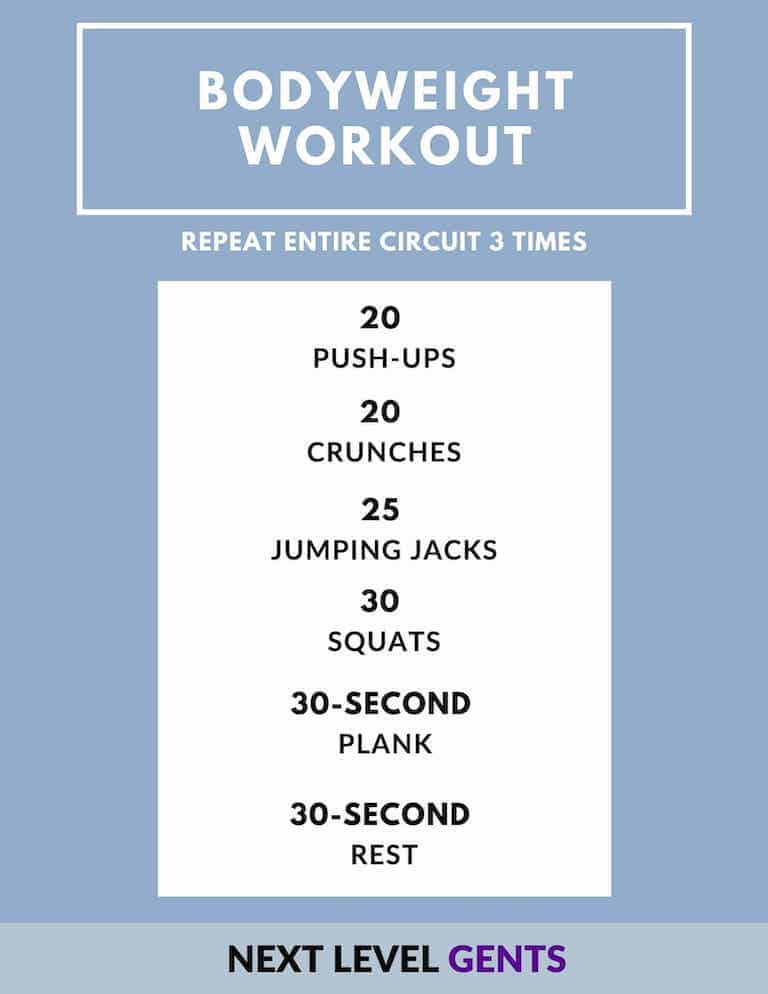 Bodyweight workout routine.