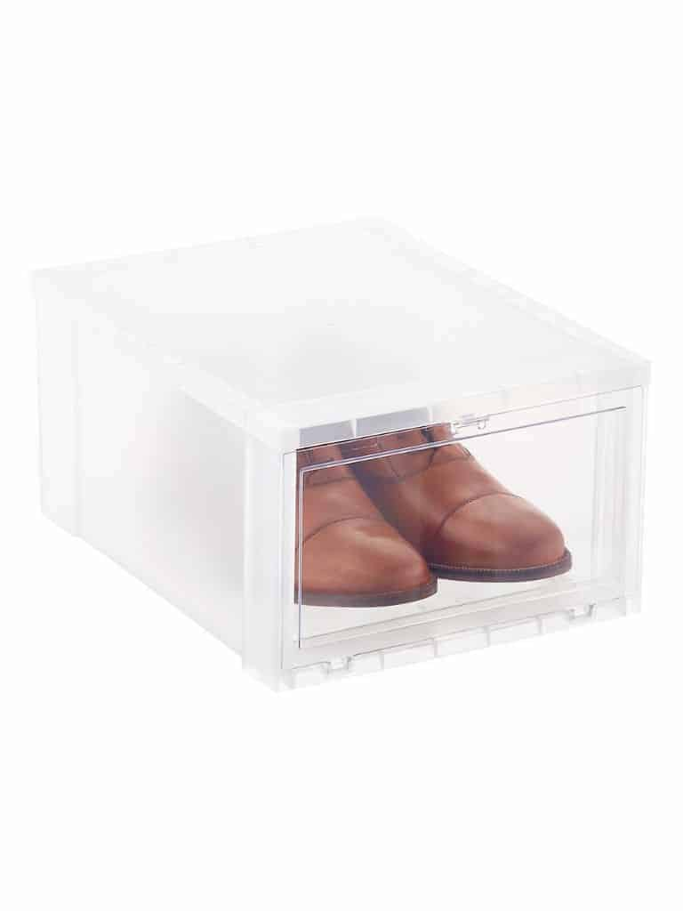 Plastic shoe box.