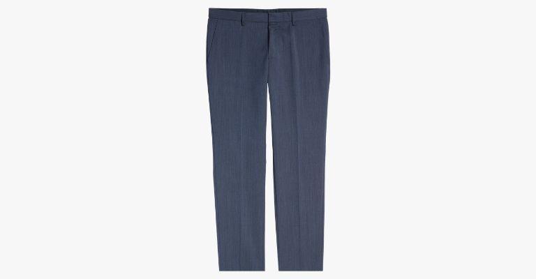 Blue wool trousers.