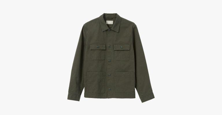 Olive green chore jacket.