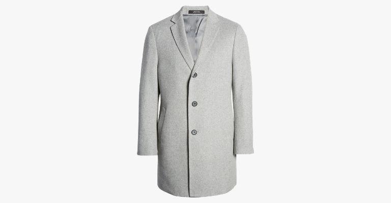 Light grey overcoat.