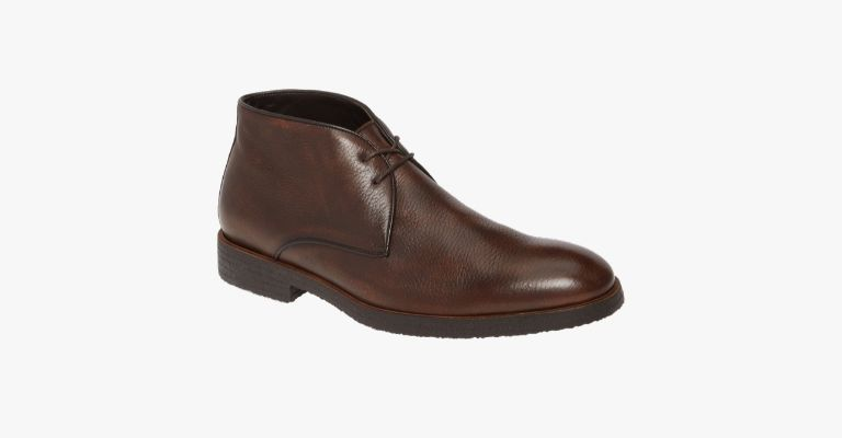 Brown leather Chukka boot.
