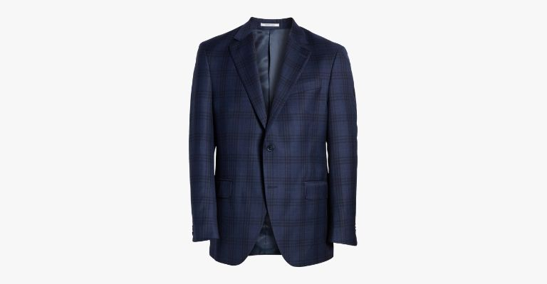 Navy plaid sport coat.