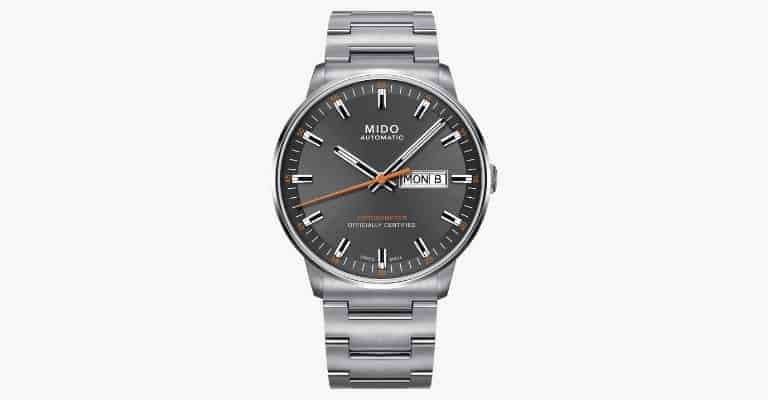 Grey metal watch.