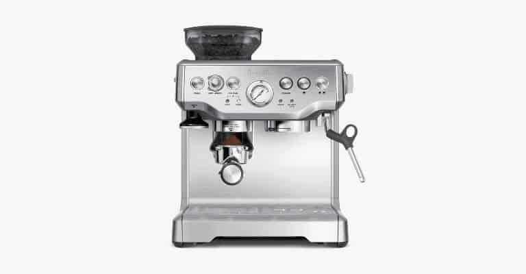 Silver espresso machine.