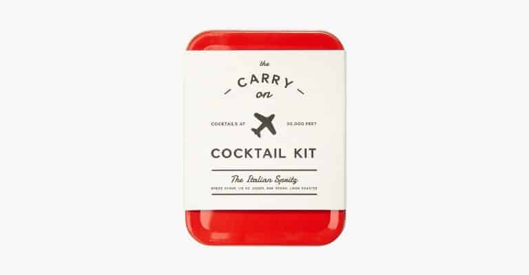 Small red carry-on cocktail kit.