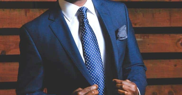 Blue suit with blue tie.
