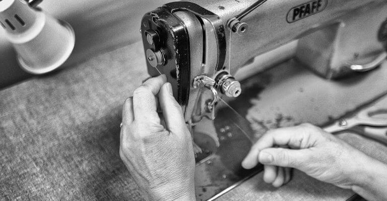 Grayscale of a sewing machine.