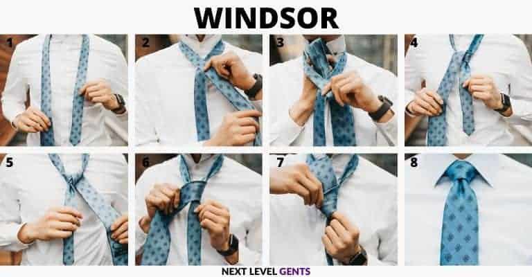 Step-by-step guide showing how to tie a Windsor knot.