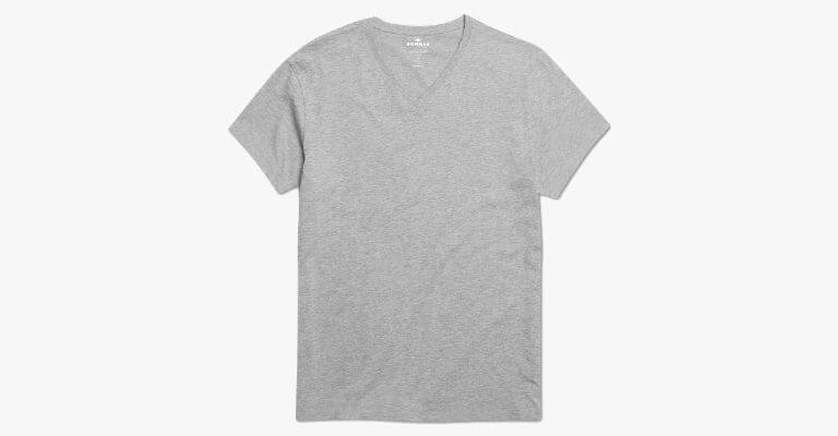 Grey v-neck t-shirt.