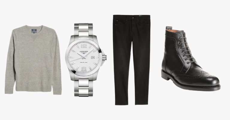 Collection of clothes and a watch.