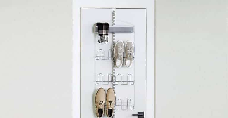 Silver door rack for clothes and shoes.