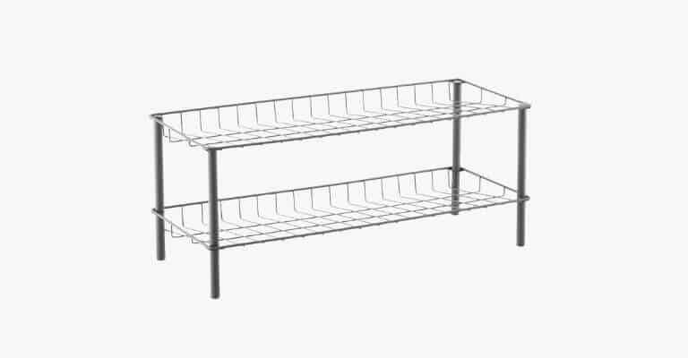 Metal 2-tier shoe rack.