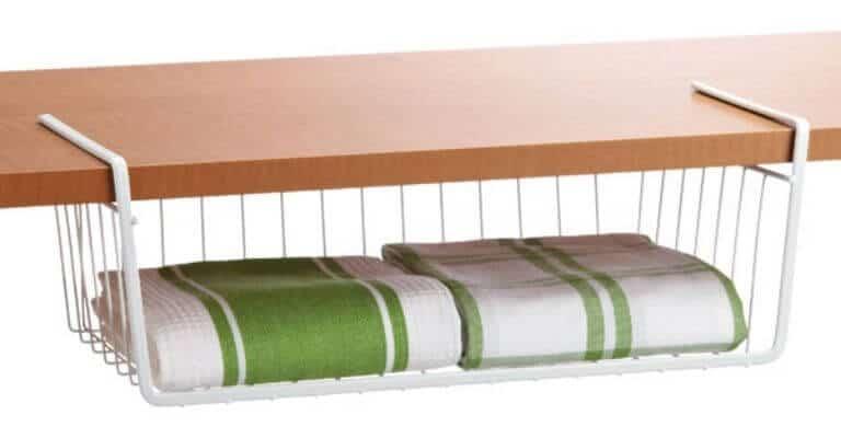 White undershelf basket.