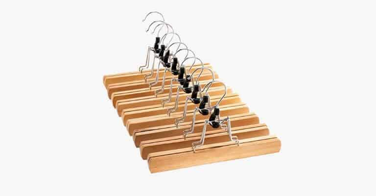 Group of wooden clip hangers.