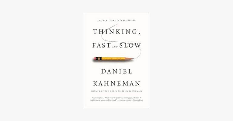 Book cover of Thinking Fast and Slow by Daniel Kahneman.