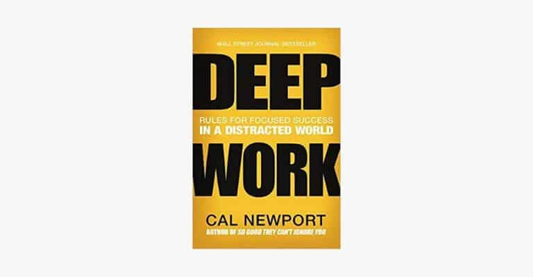 Book cover of Deep Work by Cal Newport.