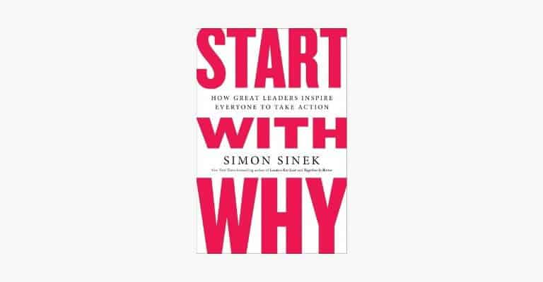 Book cover of Start with Why by Simon Sinek.