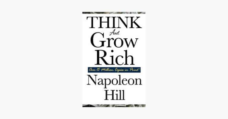 Book cover of Think and Grow Rich by Napoleon Hill.
