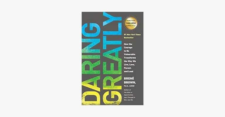 Book cover of Daring Greatly by Brene Brown.