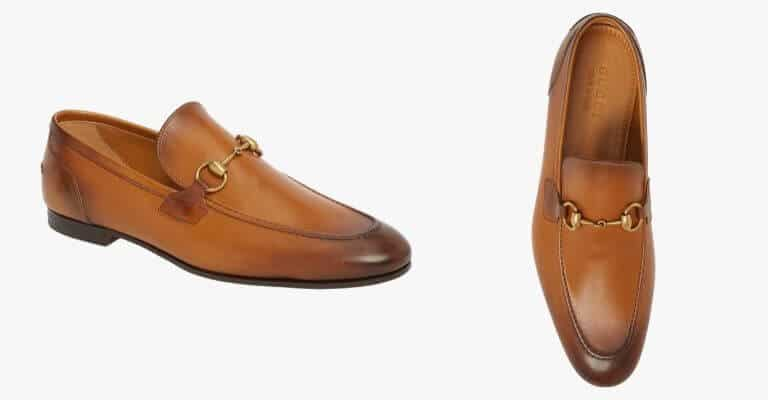 Brown leather bit loafer.