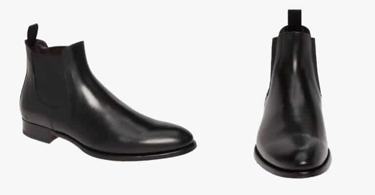 Black leather Chelsea boot.