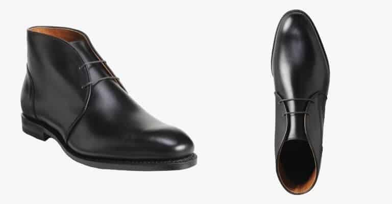 Black leather chukka boot.
