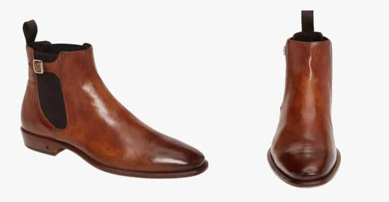 Brown leather Chelsea boot.