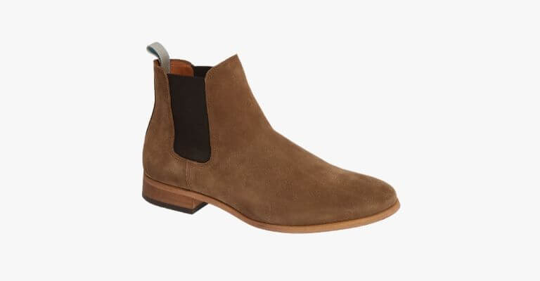 Brown suede Chelsea boot.