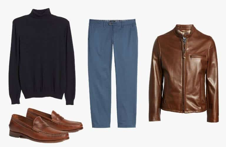 Blue chinos, turtleneck sweater, brown jacket and penny loafers.
