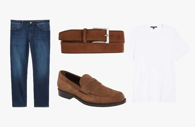 Blue jeans, brown suede loafer, belt, and white t-shirt.