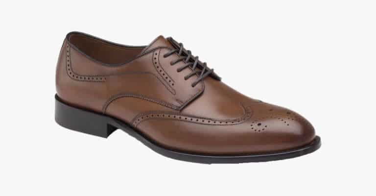 Brown wingtip shoe.