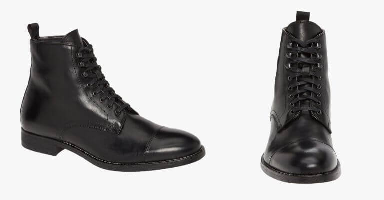 Cap-toe lace-up boot.