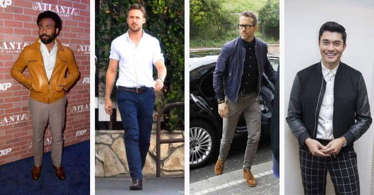 Four celebrities wearing smart casual attire.