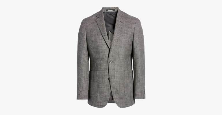 Charcoal grey check sport coat.