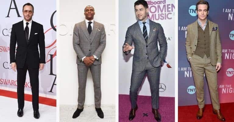 4 celebrities wearing a suit with Chelsea boots.