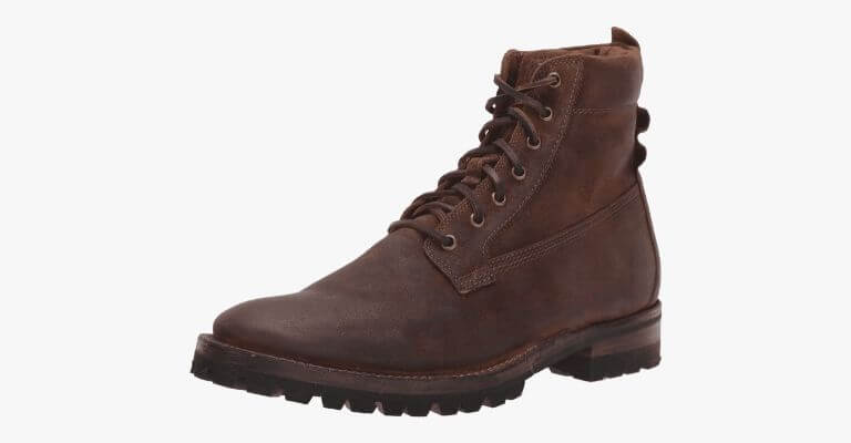 Brown suede workboot.