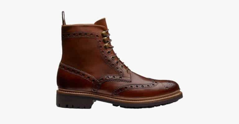 Brown leather brogue boot.