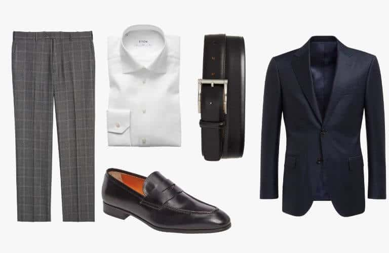Grey trousers, white dress shirt, navy sport coat, black belt and penny loafer.
